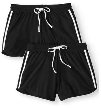 No Boundaries Juniors' basic knit shorts with tie-front 2pk value bundle