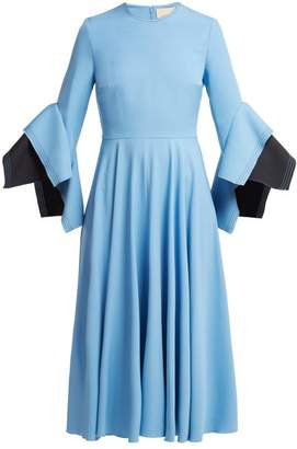 Roksanda Flared Sleeve Cady Midi Dress - Womens - Light Blue
