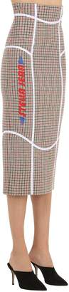 Stella Jean Printed Wool Blend Check Pencil Skirt