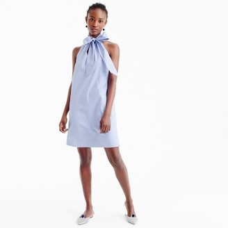 Tall tie-neck dress in oxford cotton $88 thestylecure.com