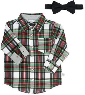 RuffleButts Boy's Juniper Plaid Shirt w/ Bow Tie, Size 3-24 Months