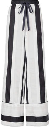 ADAM by Adam Lippes Striped Cotton And Silk-blend Jacquard Wide-leg Pants - White