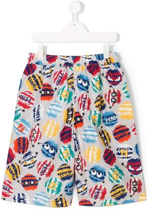 Fendi monster print swim shorts