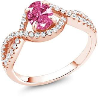 Swarovski Gem Stone King 1.26 Ct Pink 925 Rose Gold Plated Silver Ring Made With Zirconia