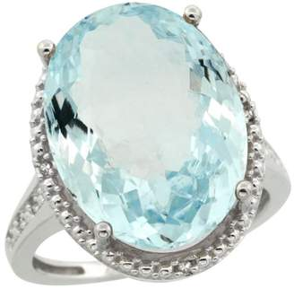 Sabrina Silver Sterling Silver Diamond Natural Aquamarine Ring Oval 18x13mm, 3/4 inch wide, size 9.5
