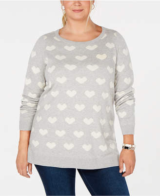 Charter Club Plus Size Heart-Print Tunic Sweater