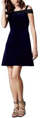 Karen Millen Velvet Cold-Shoulder Mini Dress