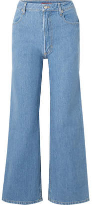 Eckhaus Latta Cropped High-rise Wide-leg Jeans - Mid denim