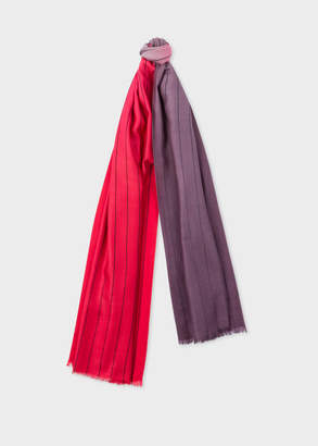 Paul Smith Men's Red And Dark Purple Dip-Dye Stripe Cashmere-Blend Scarf