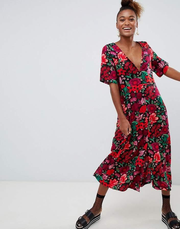 short sleeve button through flower print midi dress