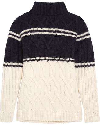 J.Crew - Edna Cable-knit Turtleneck Sweater - Navy $200 thestylecure.com