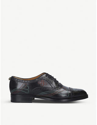 Gucci Borger embroidered leather oxford shoes