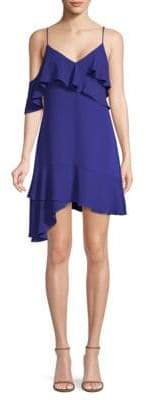 BCBGMAXAZRIA Asymmetrical Ruffled Mini Dress