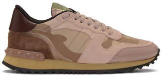 Valentino Pink Garavani Camo Rockrunner Sneakers