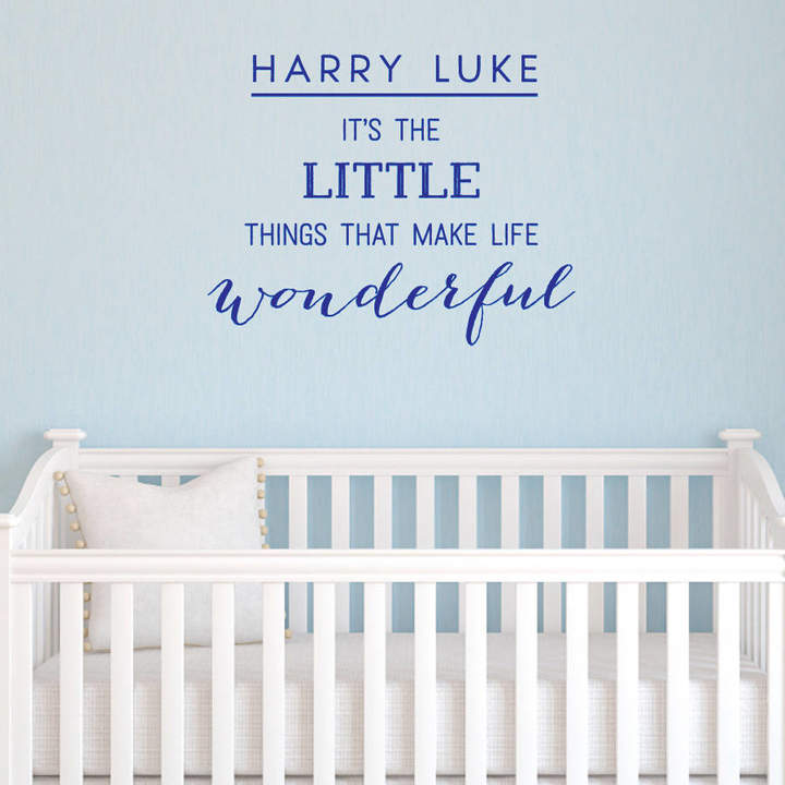 Megan Claire Personalised 'Little Things' Boy Wall Sticker