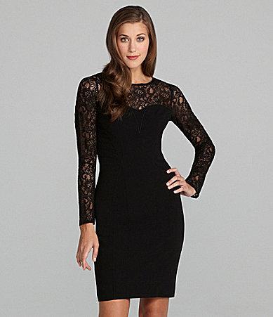 Marc New York Long-Sleeve Lace-Yoke Dress