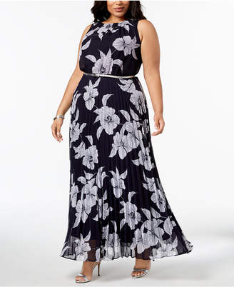 Jessica Howard Plus Size Pleated Belted Maxi Dress