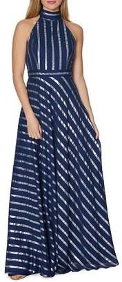 Laundry by Shelli Segal Metallic Stripe Gown