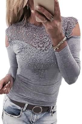 Zuvebamyo Women Elegant Cold Shoulder Lace Patchwork Mesh Sheer Top Blouse T Shirt L