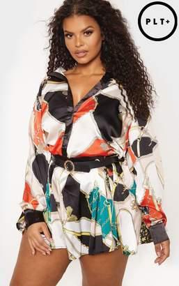 PrettyLittleThing Plus Multi Chain Print Pleated Skirt Shirt Dress