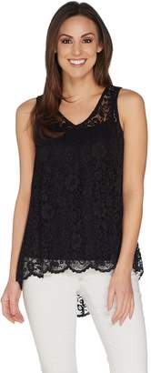 Women With Control Attitudes by Renee Sleeveless Lace Top w/ Hi-Low Hem
