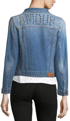 Zadig & Voltaire Kioky Button-Front Denim Jacket w/ Studded Trim