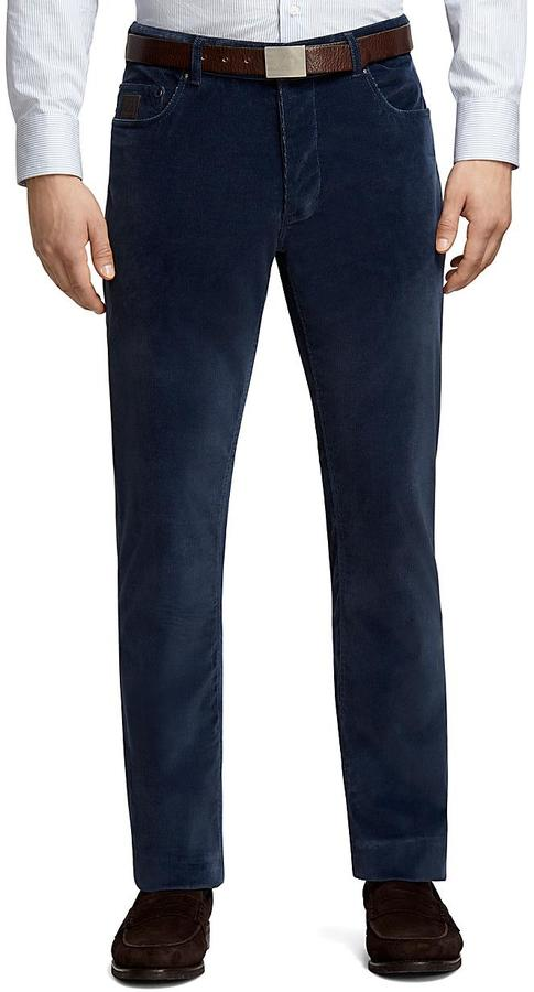 Brooks Brothers Plain-Front Blue Five-Pocket Corduroy Trousers