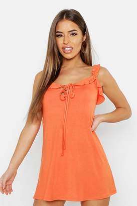 boohoo Petite Ruched Strap Skater Dress