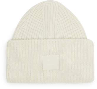 Acne Studios Face patch wool rib knit beanie hat