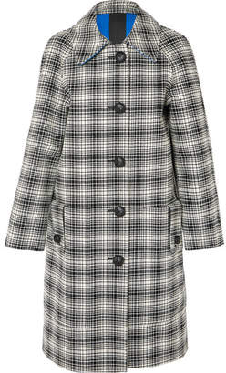 Burberry Checked Wool Coat - Black