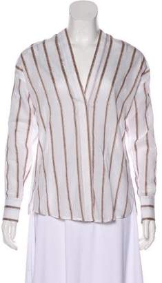 Vince Stripe V-Neck Top