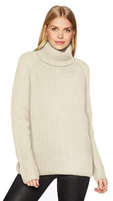 Halston Women's Long Sleeve Turtleneck Stitch Detail Sweater