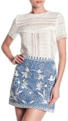Alice + Olivia Bella Lace Inset Blouse