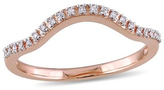 Miabella Diamond-Accent 10k Rose Gold Curved Contour Wedding Band