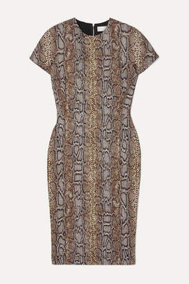 Victoria Beckham Cotton-blend Snake-jacquard Dress - Snake print