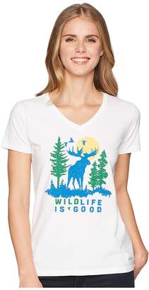 Life is Good Wildlife Moose Crusher Vee Women's T Shirt