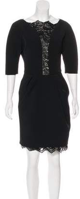 Ungaro Lame` Lace-Trimmed Knee-Length Dress w/ Tags
