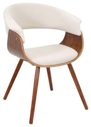 Lumisource Vintage Mod Mid-Century Modern Chair in Walnut and Cream Fabric