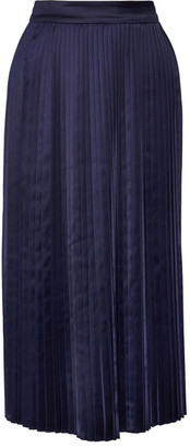 Elizabeth and James - Lucy Pleated Satin Midi Skirt - Navy $365 thestylecure.com