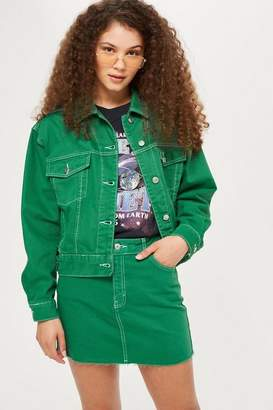 Topshop Green Boxy Denim Jacket