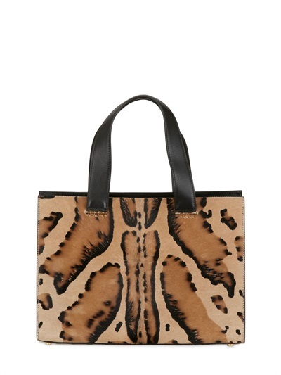 Giorgio Armani Mini Printed Ponyskin Top Handle Bag