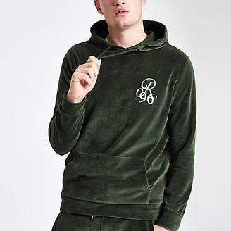 River Island Green 'R96' embroidered velour hoodie