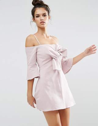 ASOS Bow Front Trumpet Sleeve Mini Dress $83 thestylecure.com