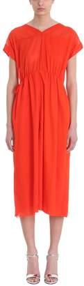 Mauro Grifoni Orange Red Cotton Loose Fit Dress