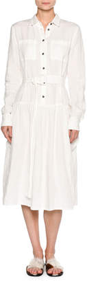 Tomas Maier Long-Sleeve Washed Linen Shirtdress, White