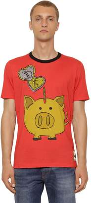 Dolce & Gabbana Piggy Bank Printed Cotton Jersey T-Shirt