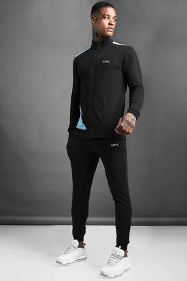 MAN Skinny Fit Zip Through Funnel Neck Tracksuit