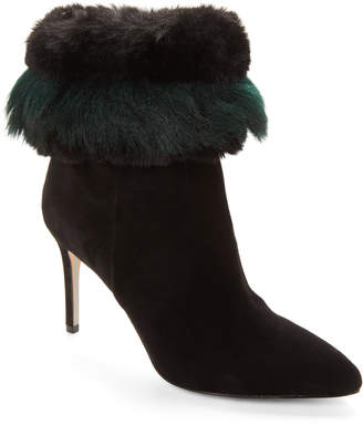 Sam Edelman Black Oleana Faux Fur Suede Ankle Booties