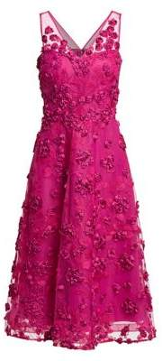 Teri Jon by Rickie Freeman Appliqued Embroidered Dress