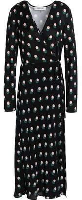 Diane von Furstenberg Printed Silk-Jersey Midi Wrap Dress